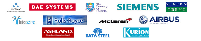 Clients include: Victrex, BAE Systems, The University of Sheffield, Siemens, Severn Trent, Interserve, Rolls Royce, McLaren, Airbus, Ashland, Kurion, Tata Steels.